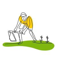 Single continuous line drawing young man digging ground using hoe at his home garden. A male takes care of his plants. Happy gardening or planting concept isolated on white background vector