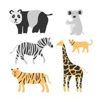 Set of cute animals. Adorable cat, tiger, panda, zebra, kangaroo and giraffe isolated on white background. Creative scandinavian kids texture for fabric, wrapping, textile, wallpaper, apparel vector
