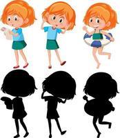 conjunto de un personaje de dibujos animados de niña en diferentes posiciones con su silueta vector