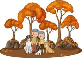Old couple with their dog in the park isolated vector