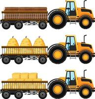 Set of tow truck carrying hay isolated background vector