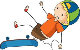 Doodle cartoon character of a boy falling on his skate vector