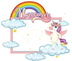 Empty banner with cute pegasus cartoon character on white background vector