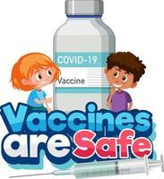 la vacuna es una fuente segura con niños sosteniendo una botella de vacuna covid-19 vector