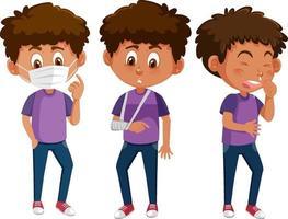 conjunto de un personaje de dibujos animados de niño con diferentes posiciones vector