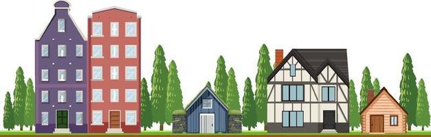 Frente de casas de campo sobre fondo blanco. vector