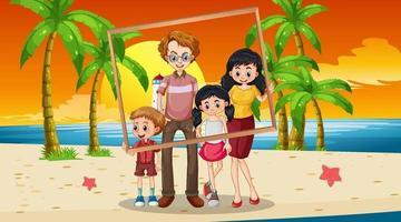 Happy family photo on vacation vector