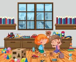 Two girls injured at cheek and arm in the playroom scene vector
