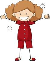 A girl cartoon character in doodle style isolated vector