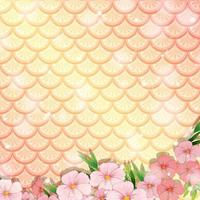 Fantasy fish scales background with many flowers vector