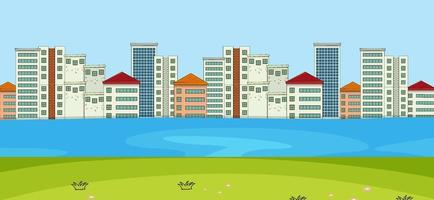 escena horizontal con fondo de río y paisaje urbano vector