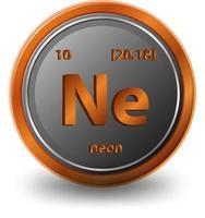 elemento químico de neón. símbolo químico con número atómico y masa atómica. vector