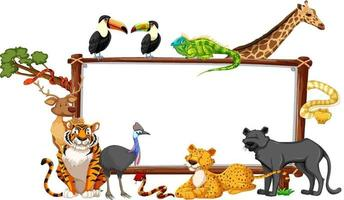Banner vacío con animales salvajes sobre fondo blanco. vector
