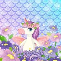 lindo unicornio sobre fondo de escamas de pez arco iris vector