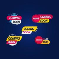 Coming Soon Live Label Logo Vector Template Design Illustration