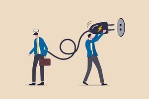recargar la energía de un empleado de oficina agotado vector