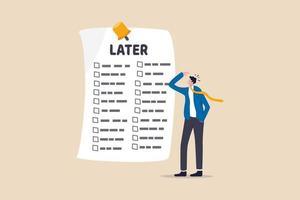trabajador de oficina mirando una larga lista de tareas pendientes para más tarde, concepto de procrastinación vector