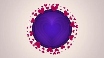 animierte Nahaufnahme romantische rote große Herzen mit Kreis auf weißem Valentinstaghintergrund.