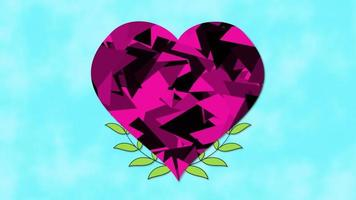 animiertes romantisches rosa großes Herz der Nahaufnahme mit Blumen auf blauem Valentinstaghintergrund.