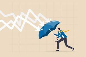 businessman holding umbrella to cover and protect from downturn arrow vector