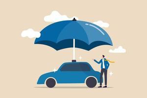 seguro de automóvil, protección contra accidentes para el vehículo, concepto de servicio de seguridad o seguro vector