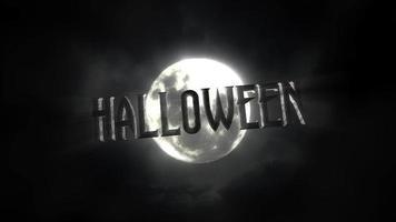 animação de texto de halloween e animação mística de fundo de halloween com lua escura e nuvens