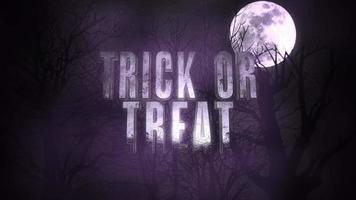 truco o trato de texto de animación y animación mística fondo de halloween con luna oscura y nubes