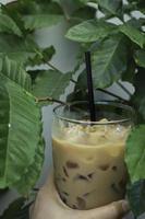 bebida de café con leche helada foto