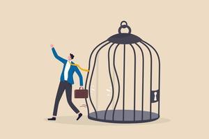 escapar de la zona de confort de la rutina, cambiar para experimentar un nuevo desafío o liberarse por el concepto de libertad vector