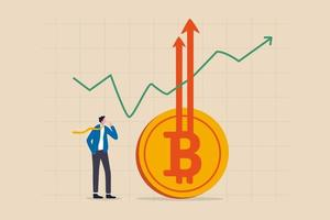 Bitcoin BTC price soaring sky high hit new high record concept vector