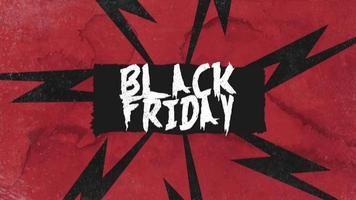 Animación texto de introducción viernes negro sobre fondo rojo hipster y grunge video