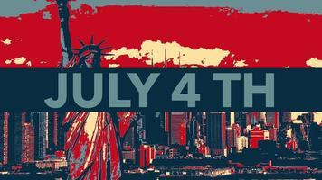 geanimeerde close-up tekst 4 juli op vakantie achtergrond, onafhankelijkheidsdag van de vs