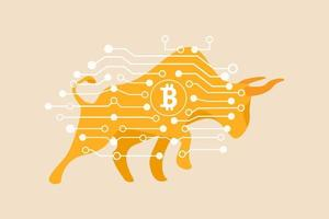 Bitcoin crypto currency bull market, cryptocurrency soaring hit new high record concept vector