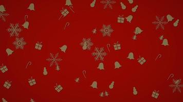 weiße Schneeflocken, Glocken, Schneemann und Geschenk zufällige Bewegung. Frohes neues Jahr und frohe Weihnachten abstrakt video