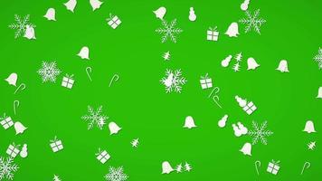 vita snöflingor, klockor, snögubbe och gåva slumpmässig rörelse. gott nytt år och god jul abstrakt video