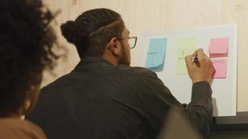 mulher negra madura e homem negro de óculos, de pé, olhando o quadro branco no escritório, enquanto o homem escreve