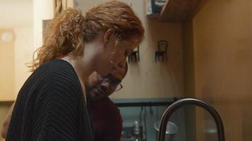 Jeune femme blanche faisant la vaisselle, donne un plat propre et humide à un homme noir portant des lunettes, l'homme parle à une femme, commence à essuyer le plat video