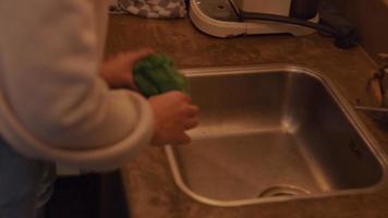 ung blandad kvinna justerar flaskor vid diskbänken, torkar köksbänken med handduk, pratar med ung man från Mellanöstern bredvid henne