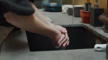 Las manos de la joven mujer blanca toman jabón, se lavan a fondo en el fregadero con agua corriente, se enjuagan las manos video