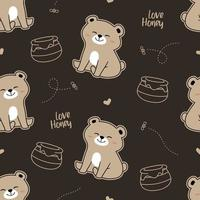 Print pattern of cute honey bear with brown backround vector