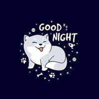 linda ilustración de dibujos animados de buenas noches shiba inu vector