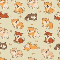 Hand drawn cute shiba inu seamless pattern template vector