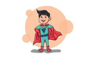 superhero man character ilustration flat 2d handdrawn icon vector