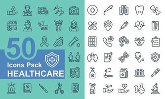 Medical and healthcare icon pack vector