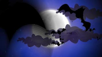 animação de fundo de halloween com morcegos e lua