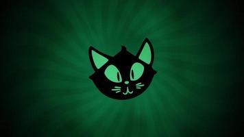 halloween animation med katten på grön bakgrund