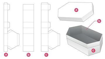 Hexagonal gift box and lid die cut template vector