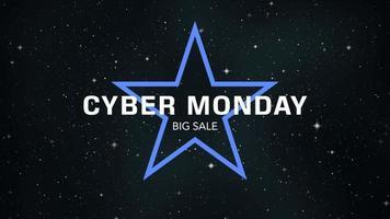 animatie intro tekst cyber maandag op mode en club achtergrond met gloeiende blauwe ster in melkweg