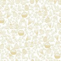Easter seamless pattern with golden paschal symbols in sketch style. Layout for holidays. Seamless pattern can be used for pattern fills, wallpaper, web page background, surface textures. vector