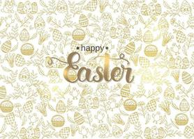 Easter poster with hand made trendy lettering Happy Easter and golden paschal symbols in sketch style. Banner, flyer, brochure. Background for holidays, postcards, websites vector